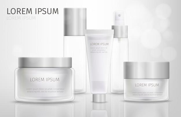 Collection de cosmétiques en verre de marque Vecteur Premium