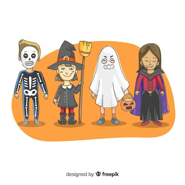 Collection de costumes enfant halloween dessinés à la main Vecteur gratuit