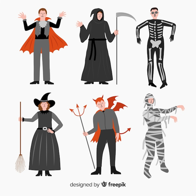 Collection de costumes halloween carnaval plat Vecteur gratuit