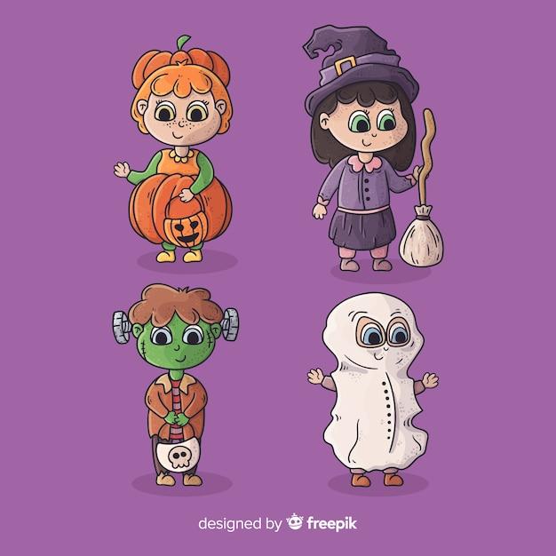 Collection de costumes d'halloween mignons enfants de dessin animé Vecteur gratuit