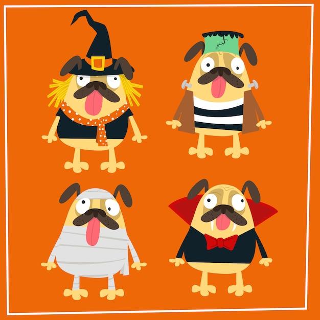 Collection de costumes halloween pour carlin Vecteur Premium