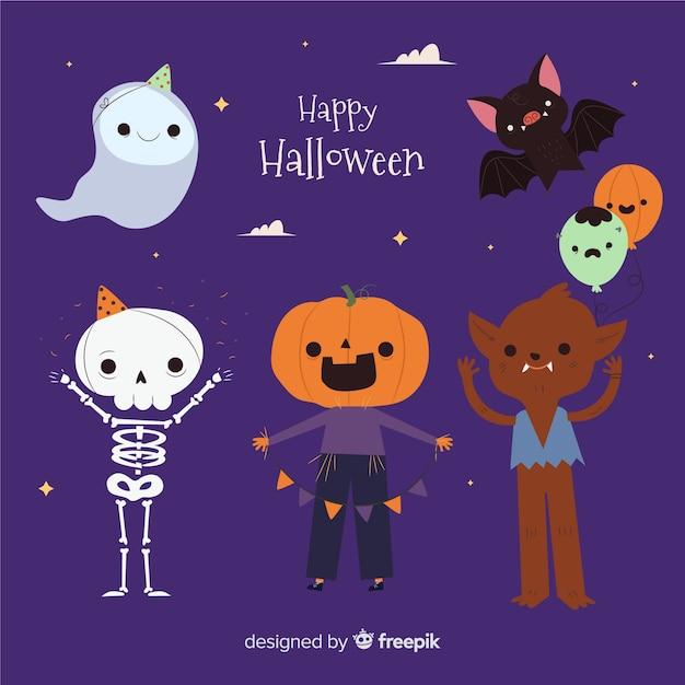 Collection de costumes d'halloween pour enfants Vecteur gratuit