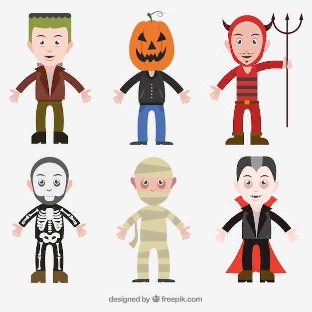 Collection de costumes d'halloween Vecteur gratuit