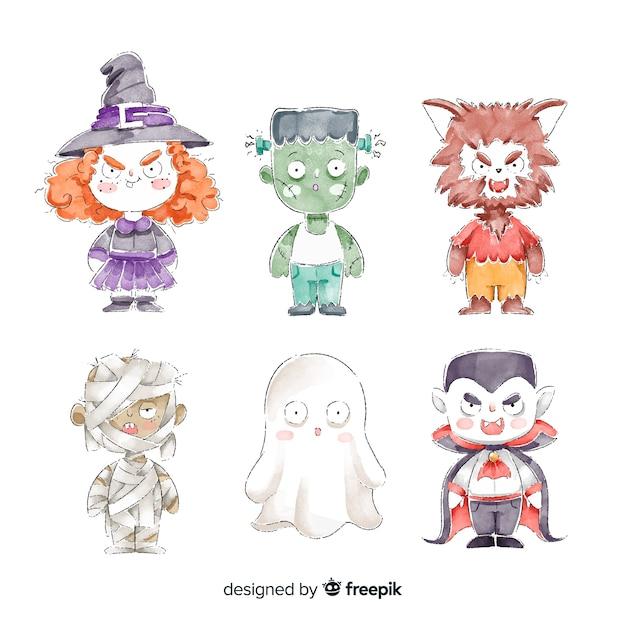 Collection De Costumes De Personnages Aquarelle Halloween Vecteur gratuit