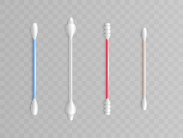 Collection de cotons-tiges - différents types et formes pour la propreté. articles de toilette réalistes Vecteur gratuit