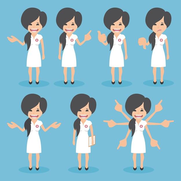 Collection de couleur infirmières Vecteur gratuit
