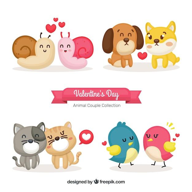 Collection de couple d'animaux mignons valentine Vecteur gratuit