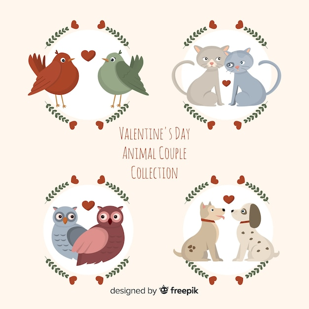 Collection de couple d'animaux plat saint-valentin Vecteur gratuit