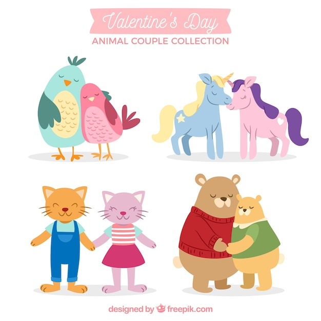 Collection de couple d'animaux de saint-valentin dessinés à la main Vecteur gratuit