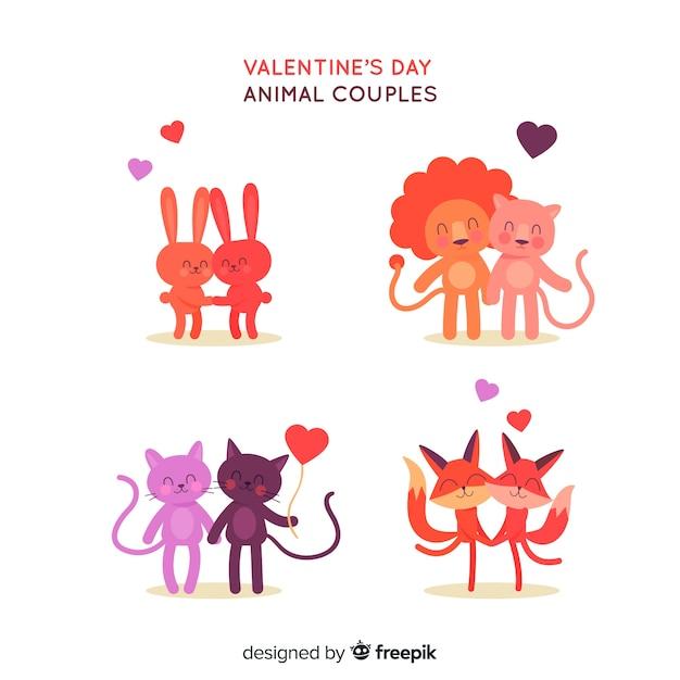 Collection de couple d'animaux de saint valentin dessinés à la main Vecteur gratuit