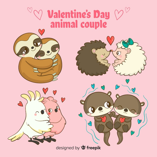 Collection de couple d'animaux de la saint-valentin Vecteur gratuit