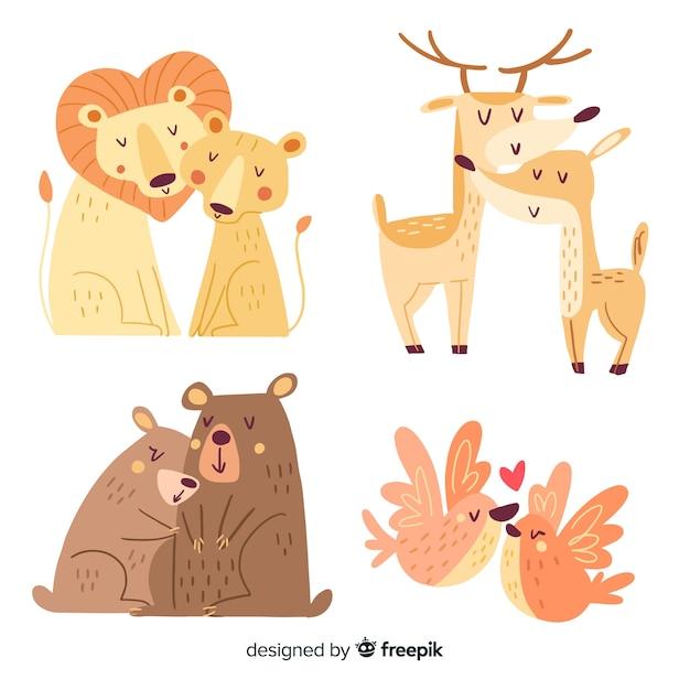 Collection de couple d'animaux de la saint-valentin Vecteur gratuit