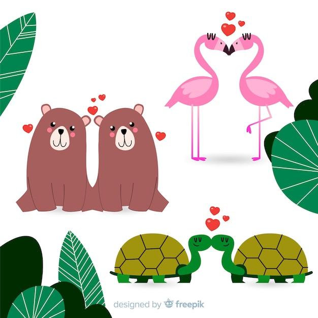 Collection de couple d'animaux sauvages valentine Vecteur gratuit