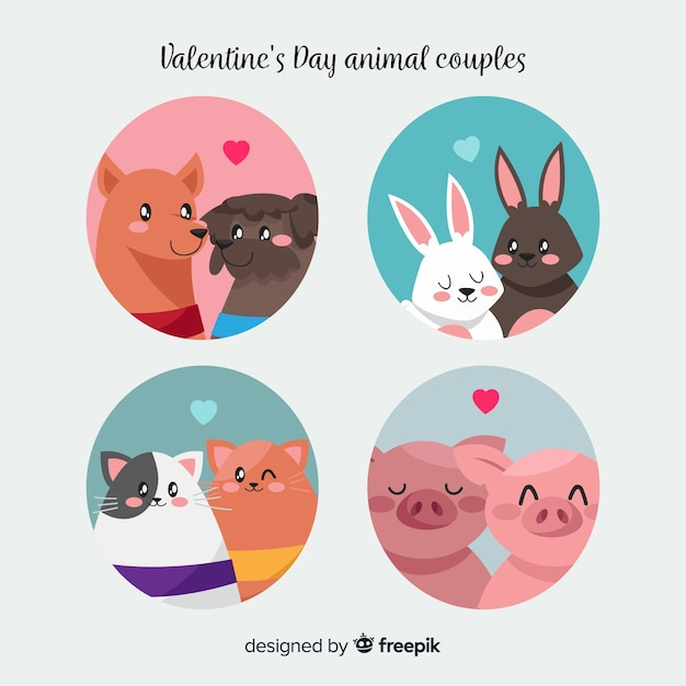 Collection de couple d'animaux valentine en cercle Vecteur gratuit