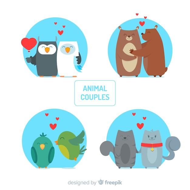 Collection de couple d'animaux valentine Vecteur gratuit