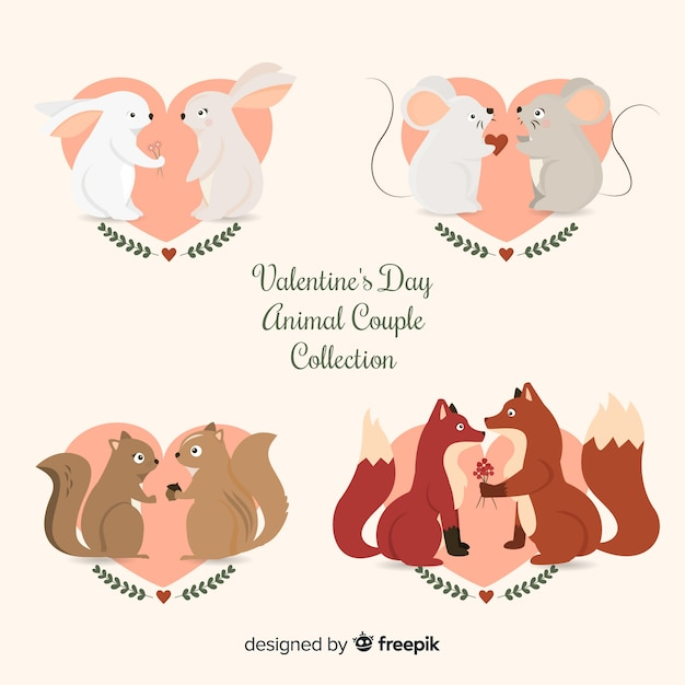 Collection de couple d'animaux valentine Vecteur gratuit