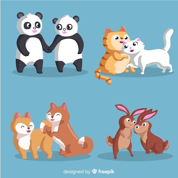 Collection de couple d'animaux Vecteur gratuit