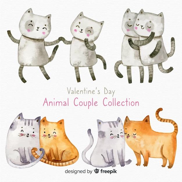 Collection de couple chat saint valentin Vecteur gratuit