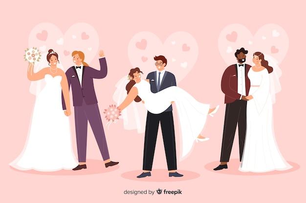 Collection de couple de mariage au design plat Vecteur gratuit