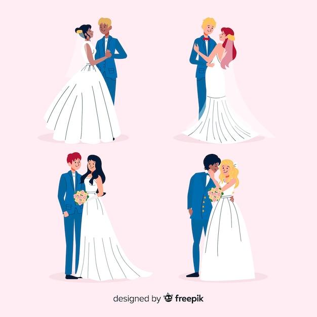 Collection de couple de mariage dessiné à la main Vecteur gratuit