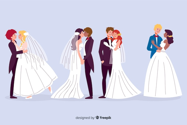Collection de couple de mariage dessiné à la main Vecteur gratuit