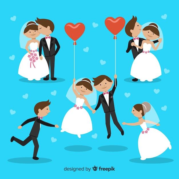 Collection de couple de mariage Vecteur gratuit