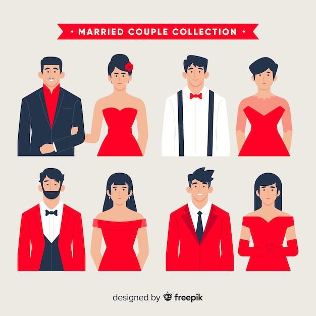 Collection couple marié Vecteur gratuit