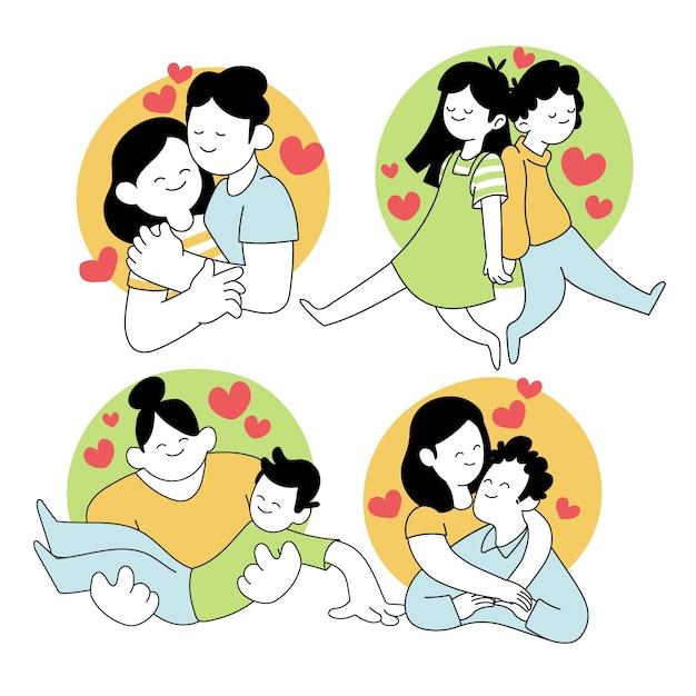 Collection De Couple Saint Valentin Avec Coeurs Vecteur gratuit