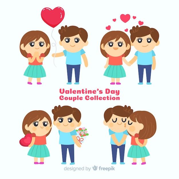 Collection de couple de la saint-valentin Vecteur gratuit