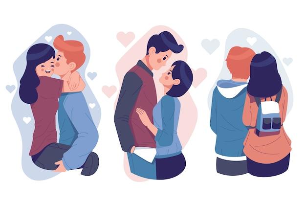 Collection Couple Saint Valentin Vecteur gratuit
