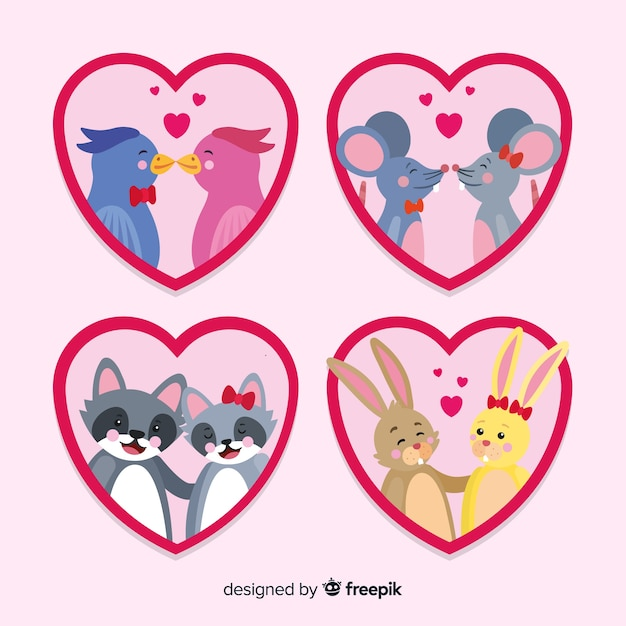 Collection de couples d'animaux mignons pour la saint valentin Vecteur gratuit