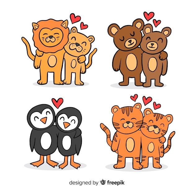 Collection de couples d'animaux saint valentin Vecteur gratuit