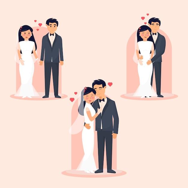 Collection De Couples De Mariage Vecteur gratuit