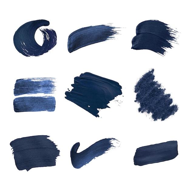 Collection de coups de pinceau bleu marine Vecteur gratuit