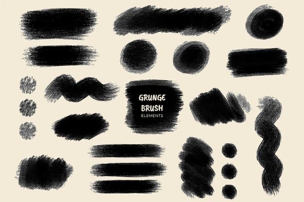 Collection de coups de pinceau grunge Vecteur gratuit