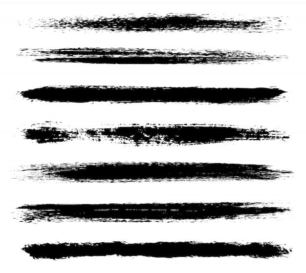 Collection de coups de pinceau noirs Vecteur Premium