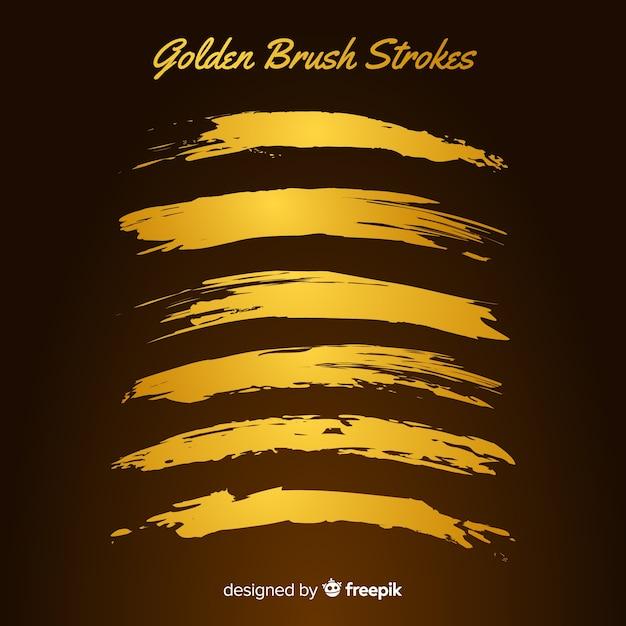 Collection de coups de pinceau d'or Vecteur gratuit