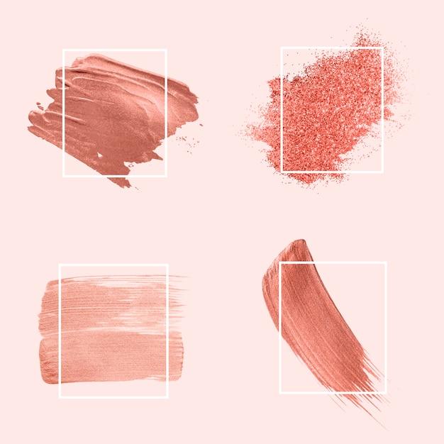 Collection de coups de pinceau roses Vecteur gratuit