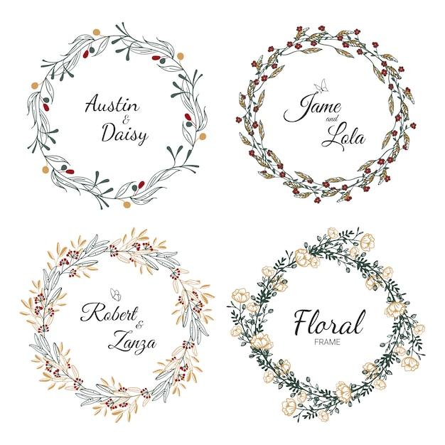 Collection de couronne de mariage dessinés à la main pour mariage. Vecteur Premium
