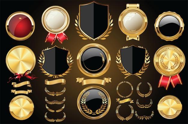 Collection De Couronnes De Laurier Et De Badges De Boucliers Dorés Médiévaux De Vecteur Vecteur Premium