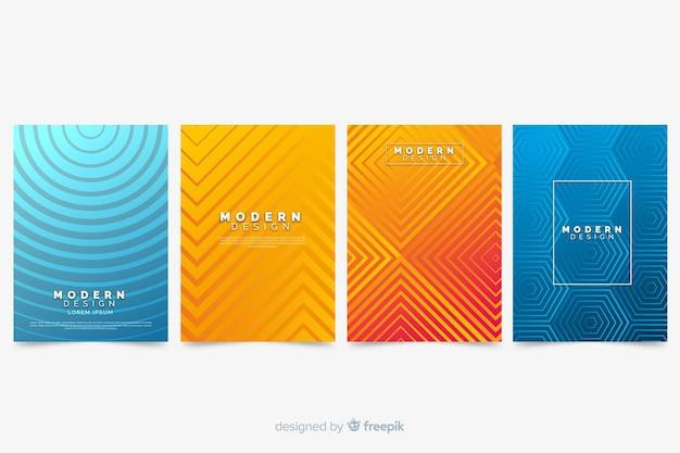 Collection de couvertures abstraites colorées avec des lignes Vecteur gratuit