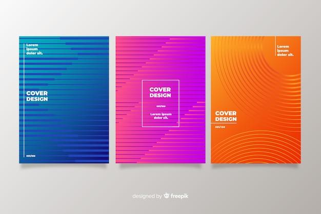 Collection de couvertures abstraites colorées Vecteur gratuit