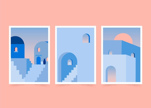 Collection De Couvertures D'architecture Minimale Vecteur gratuit