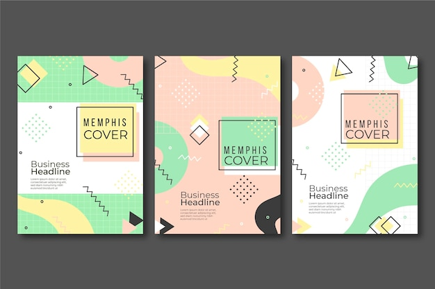 Collection De Couvertures Colorées De Memphis Design Vecteur gratuit