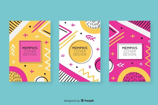Collection de couvertures colorées de memphis Vecteur gratuit