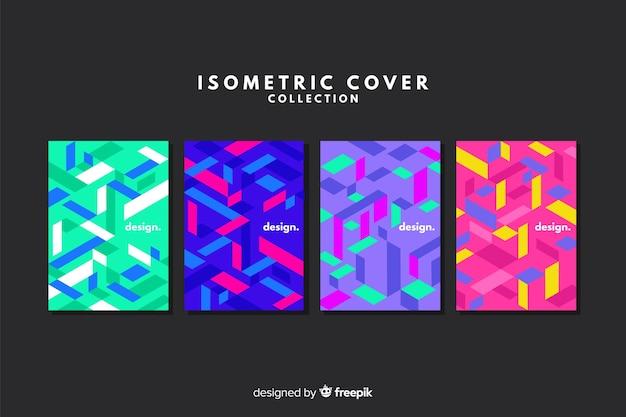Collection de couvertures colorées de style isométrique Vecteur gratuit
