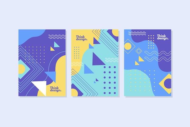 Collection De Couvertures Dans Le Style De Memphis Vecteur Premium