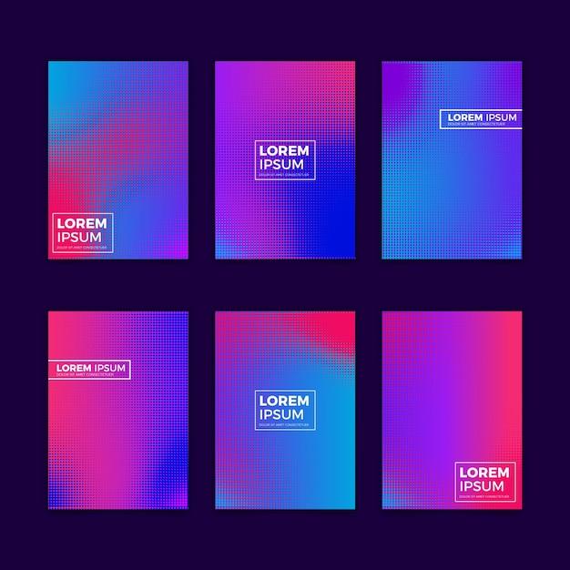 Collection De Couvertures Dégradées En Demi-teintes Multicolores Vecteur gratuit