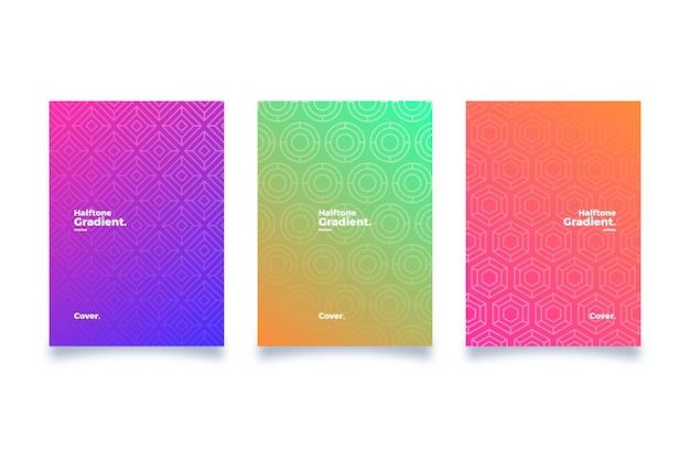 Collection De Couvertures Dégradées En Demi-teintes Vecteur gratuit
