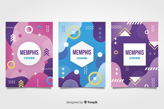 Collection de couvertures design memphis Vecteur gratuit